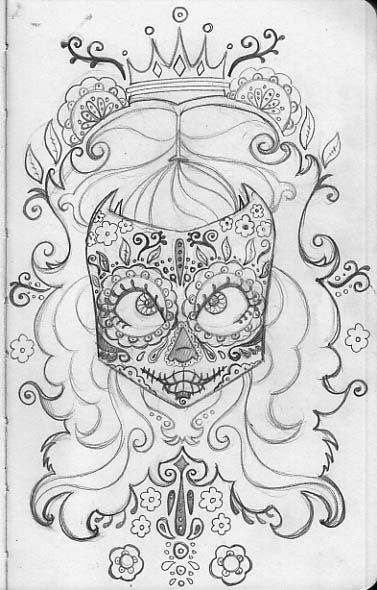 Coloring Pages Printable Sugar Skull Funny