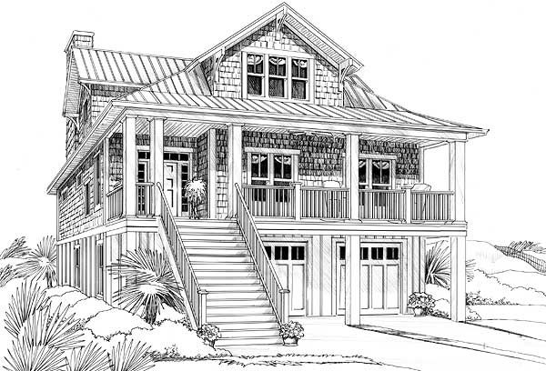 Narrow lot beach house plan Coastal home plans narrow lots