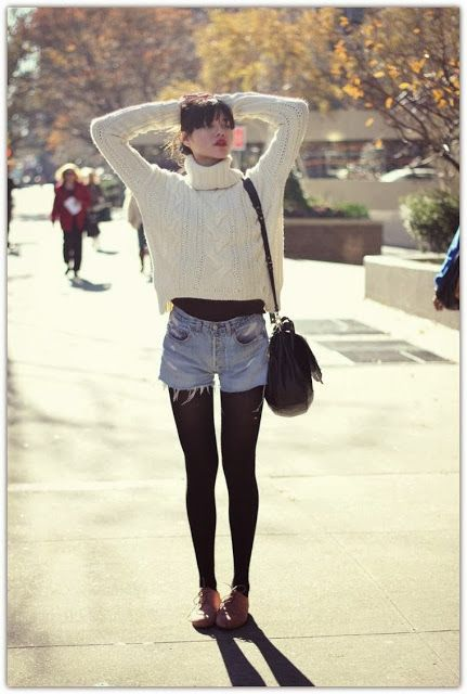 Chunky sweater ; shorts with tights; I could make this outfit, all I need is s pair of oxfords :)