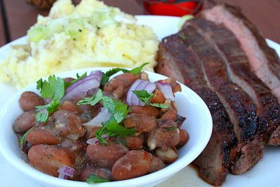 Bourbon Marinated Flank Steak with Garlic Mashed Potatoes and Pinto ...