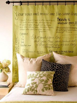 Curtain rod, curtain panel (or upholstered headboard), fabric markers, and favorite literary quotes!