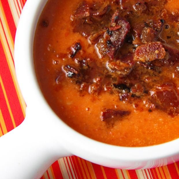 Smoky Tomato Soup With Maple-Candied Bacon