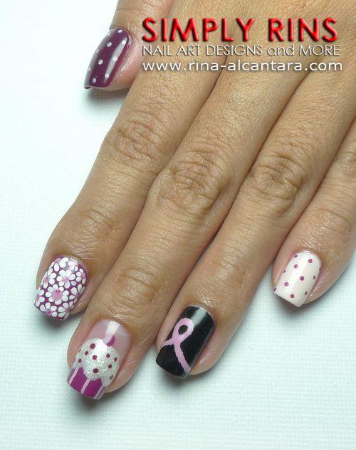 Breast Cancer Awareness Nail Art Design | HARD AS NAILS | Pinterest