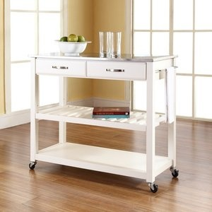 Crosley stainless steel top kitchen cart island with optional stool