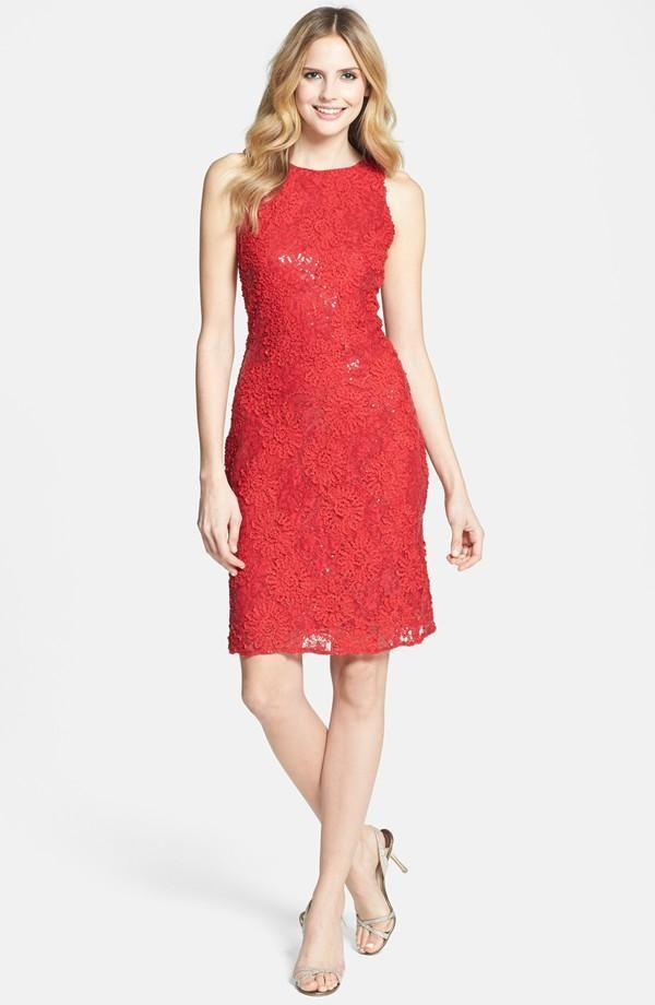 Sexy, Red Sequin Lace Sheath Dress