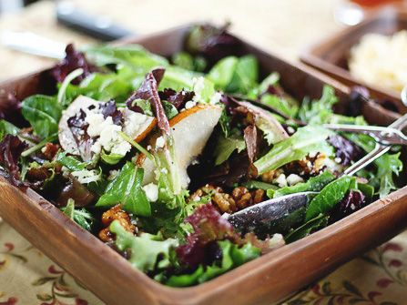 Spring Greens with Pears, Sugared Walnuts & Gorgonzola | Recipe