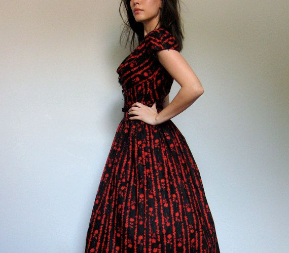Cotton Day Dress Vintage 50s Floral Print Black by MidnightFlight, $225.00