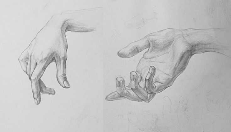 Рисунки кистей рук в карандаше