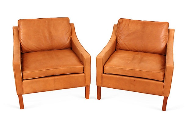Mid Century Modern Leather Chairs Pair