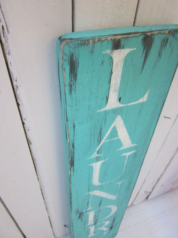 laundry room distressed wooden sign home decor turquoise