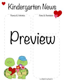 Kindergarten Valentine's Day, February Newsletter Template