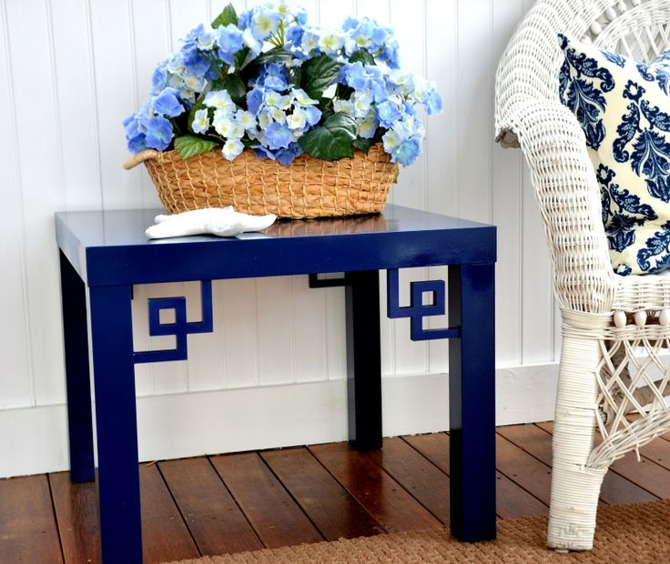O'verlays ™ by Danika & Cheryle llc  --  Greek Key Corners on Ikea Lack table -- O'verlays ™ by Danika & Cheryle llc -- MyOverlays.com -- specifically designed to spruce up Ikea furniture (cut to fit Ikea pieces, though custom sizes are available too)