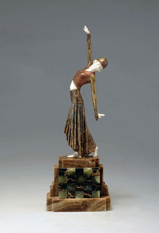 Demètre H. Chiparus (Romanian 1886 - 1947), Paris, Sculpture, Cold-painted, Patinated Bronze, Ivory and Onyx Base.