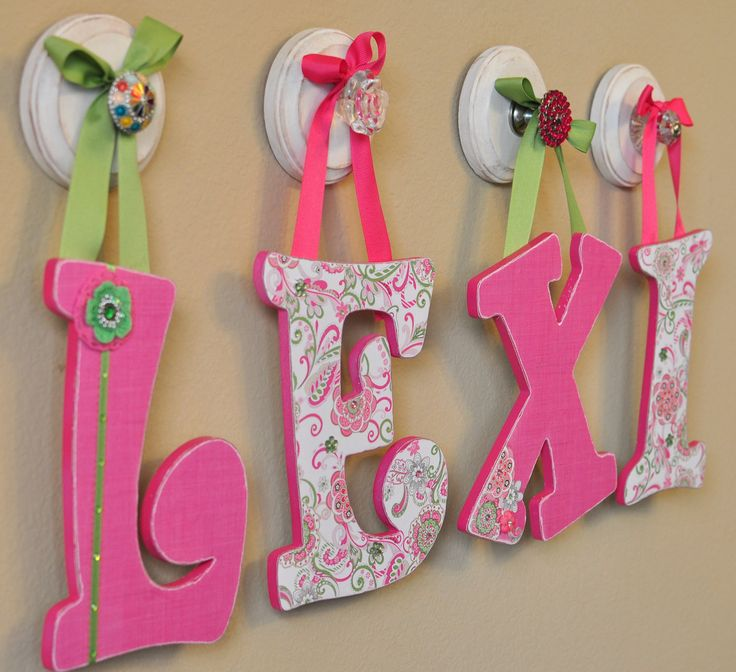Nursery letters baby name art custom nursery room decor for Baby name letters for nursery