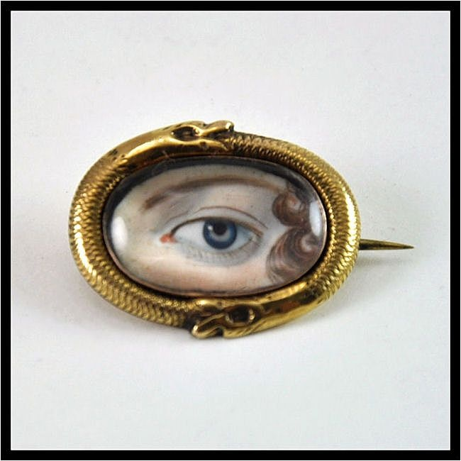 antique georgian lover's eye snake brooch