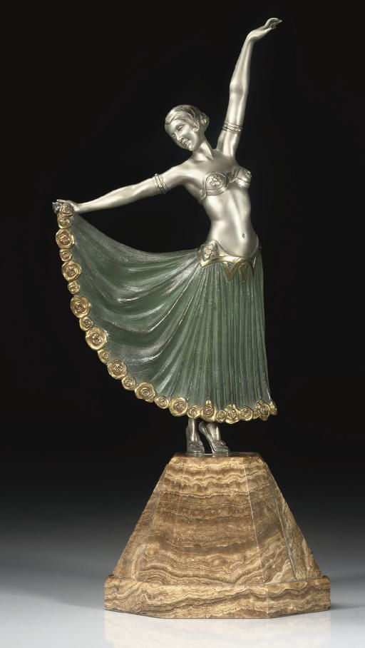 ARMAND GODARD | SYRIAN DANCER A SILVERED AND COLD-PAINTED BRONZE FIGURE, CIRCA 1925