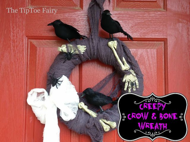 The TipToe Fairy: Halloween Wreath - Creepy Crows & Bones!