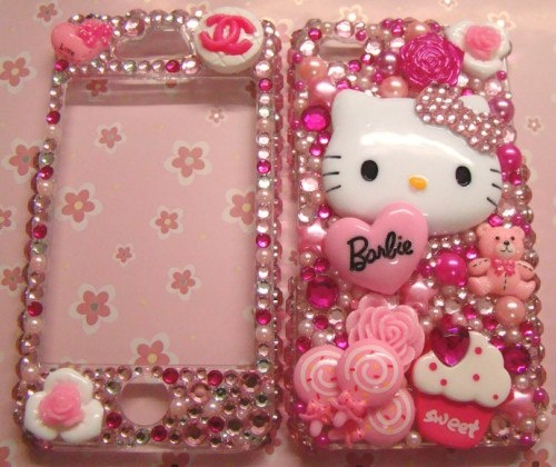 Case Design chanel phone casing : sequins and hello kitty pieces used to make a phone case ( youu0026#39;ll need ...