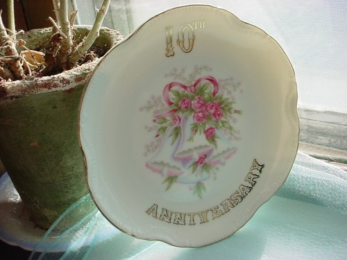 ... 10th Anniversary Plate Wedding Bells Pink Roses Japan Gift Idea 7 Inch