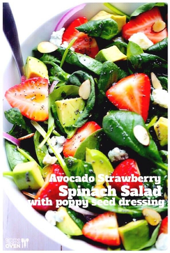Avocado Strawberry Spinach Salad!!! | Looks like a palette pleaser ...