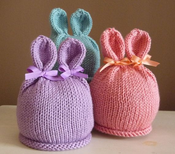 NEW - Handknit Infant Bunny Hat Photo Prop Easter Hand Knit Beanie Ha?