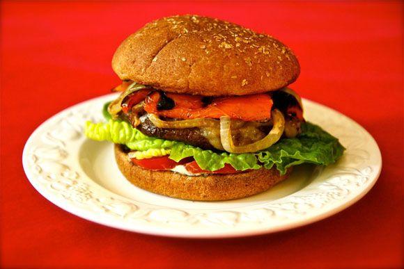 Portobello Mushroom Burger Recipe with Fresh Basil/Roasted Red Pepper ...