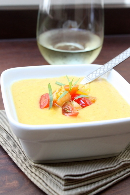 Curried Corn And Coconut Soup With Lobster, Tomato