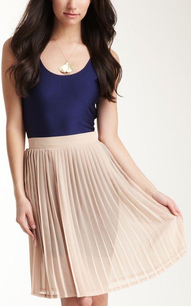 chiffon pleated skirt my style