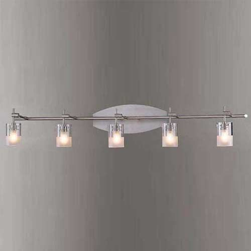 Brushed nickel five light bath fixture george kovacs 5 or for Bathroom lighting fixtures