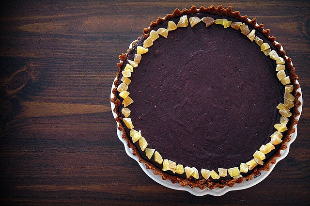 Dark Chocolate Tart with Gingersnap Crust // good but very rich