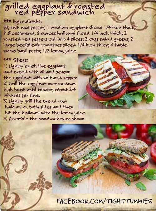 Grilled Eggplant and Roasted Red Pepper sandwich #diet #food