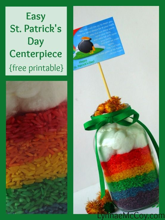 Easy St. Patrick's Day Colored Rice Centerpiece
