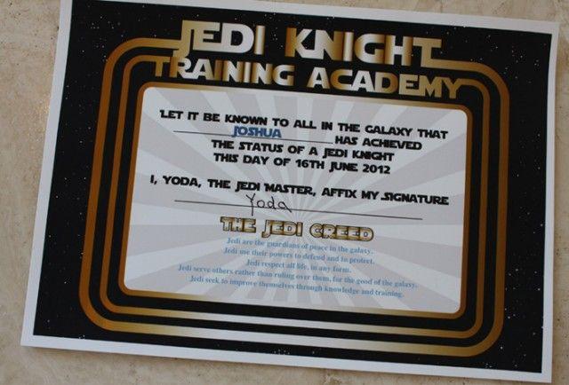 Star Wars inspired printable Jedi training certificate
