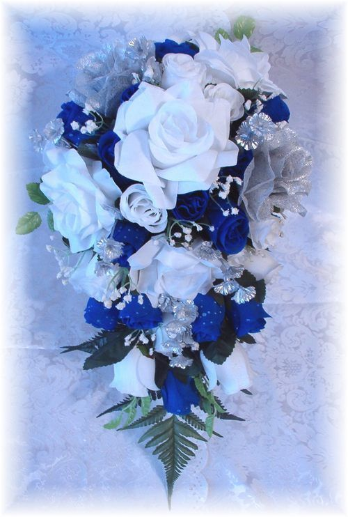 21pc Wedding Bouquet ROYAL BLUE White Silver Silk Bridal Flowers Roses