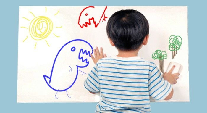 Peel-n-stick dry erase board OR transparent dry erase paint!  Very cool!