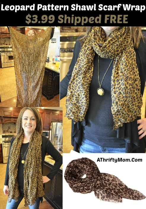 leopard print scarf, ships free with no minimum order #ChristmasIdea #TeenGirl #Scarf #Amazon