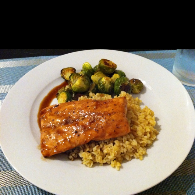 Maple And Mustard-Glazed Salmon With Roasted Brussels ...