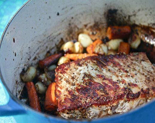 Fennel-Rubbed Pork Roast with Balsamic-Glazed Vegetables