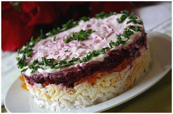 Слоёные салаты без мяса рецепты