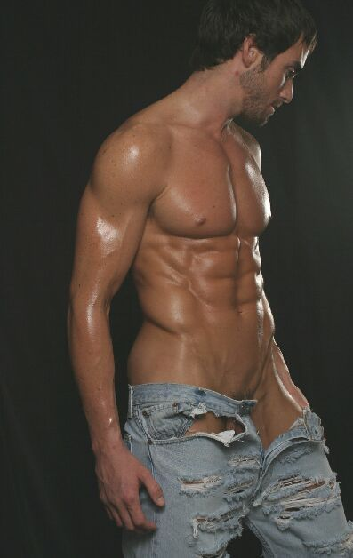 Torn jeans for a sexy naked torso | Hot guys | Pinterest