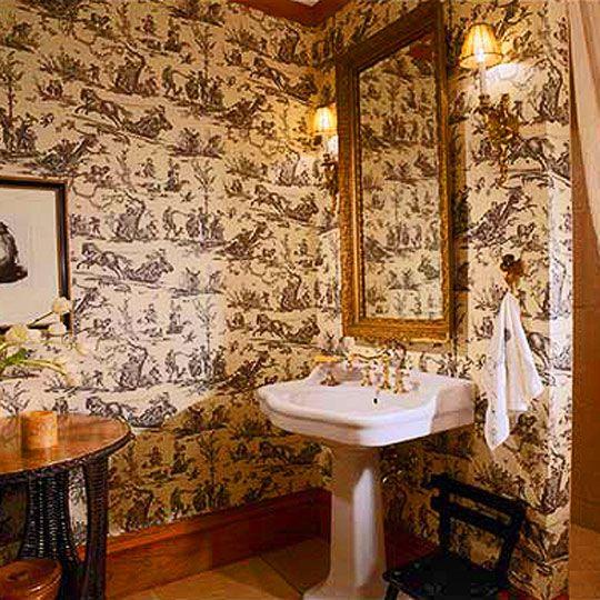 Decorating ideas toile fabric english cottage english design pi - Toile bathroom decor ...