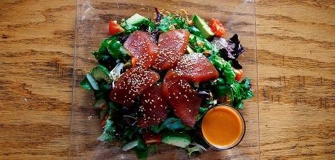 Salad 12 】 Marinated big eye tuna sashimi, avocado, mesclun, radish ...