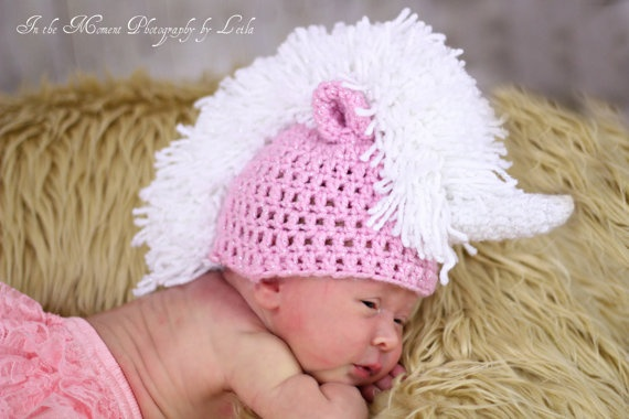 Crochet Unicorn Horn : Too cute! I think it would be cute without the unicorn horn though.