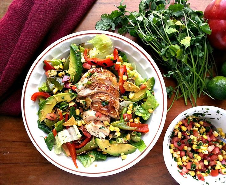 Chicken fajita salad with roasted peppers, avocado, and tomato corn ...