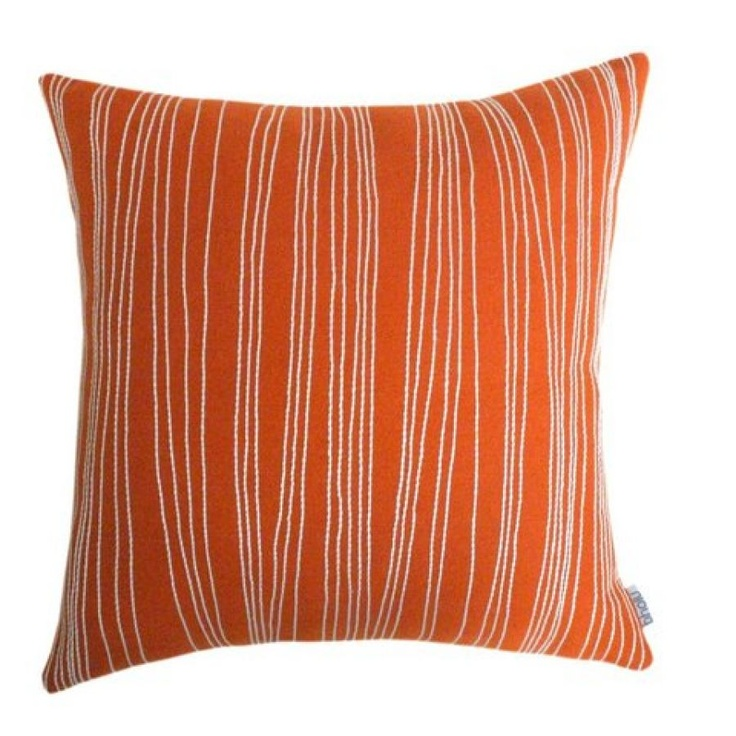 Bholu Ziddi Throw Pillow in Orange & Cream. Hand made and hand embroidered. Click this pin to ...
