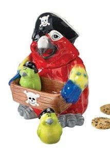 Pirate Parrot Cookie Jar Set- NEED HIM   cookie jars   Pinterest