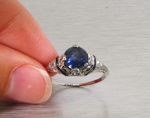Antique 1900s 2ct Ceylon Blue Sapphire Diamond Platinum Filigree Ring