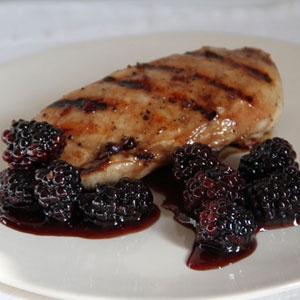 Pomegranate-Glazed Chicken with Blackberries   Recipe