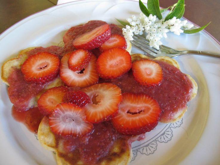 Lam Wagon: Semi Whole-Wheat Pancakes with Strawberry Sauce