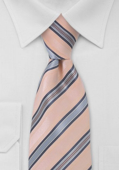 peach and grey/blue tie